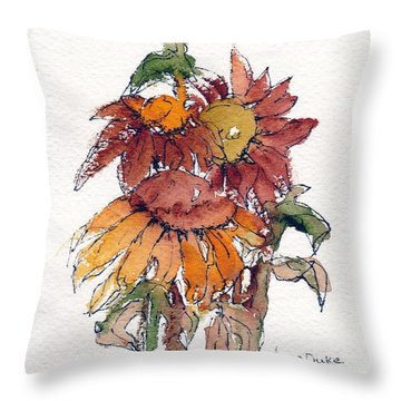 Throw Pillow featuring the painting Sunflower Trio #2 by Anne Duke