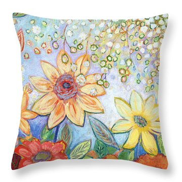 Sunflower Tropics Throw Pillow by Jennifer Lommers