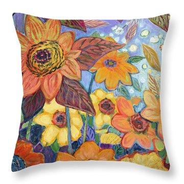 Sunflower Tropics Part 1 Throw Pillow