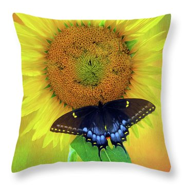 Sunflower With Company Throw Pillow