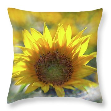 Sunflower With Lens Flare Throw Pillow