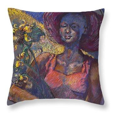 Sunflower Woman Throw Pillow
