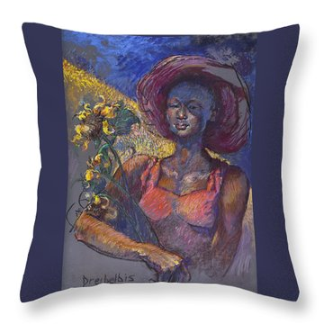 Sunflower Woman Throw Pillow