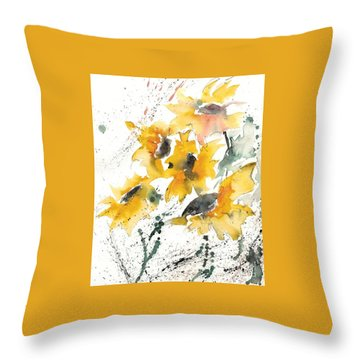 Throw Pillow featuring the painting Sunflowers 10 by Ismeta Gruenwald