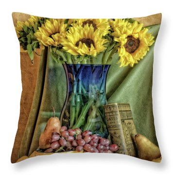 Sunflowers And Blue Vase Throw Pillow