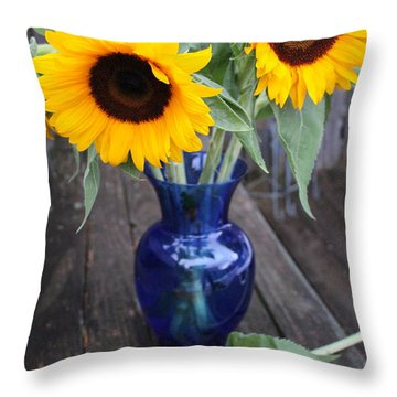 Sunflowers And Blue Vase - Still Life Throw Pillow