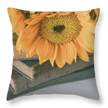 Throw Pillow featuring the photograph Sunflowers And Books by Kim Hojnacki