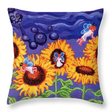 Sunflowers And Faeries Throw Pillow by Genevieve Esson