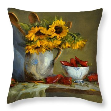 Sunflowers And Paprika Throw Pillow