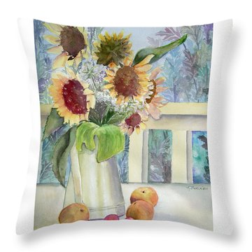Sunflowers And Peaches Throw Pillow by Katherine  Berlin