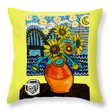 Throw Pillow featuring the painting Sunflowers And Starry Memphis Nights by Christopher Farris
