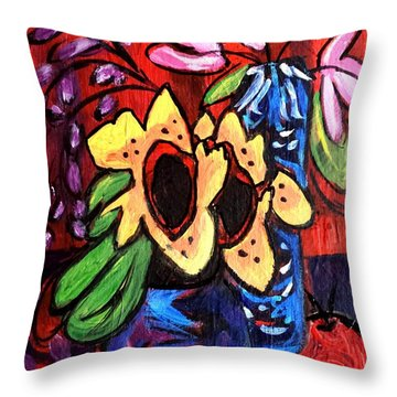 Sunflowers And Tulips Throw Pillow