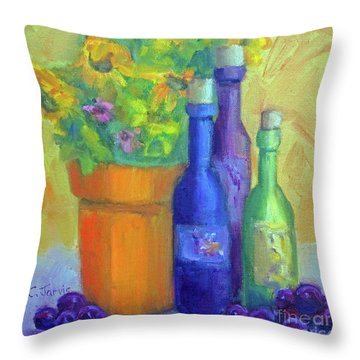 Sunflowers And Wine Throw Pillow