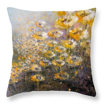 Sunflowers Throw Pillow by Andrew King