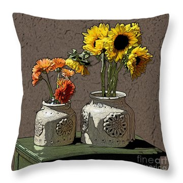 Sunflowers Throw Pillow by Anthony Forster