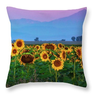 Sunflowers At Dawn Throw Pillow