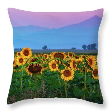 Throw Pillow featuring the photograph Sunflowers At Dawn by John De Bord