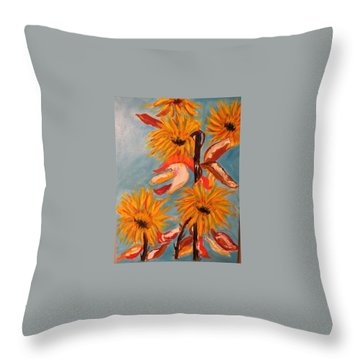 Sunflowers At Harvest Throw Pillow