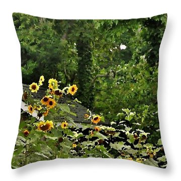 Sunflowers At The Good Earth Market Throw Pillow