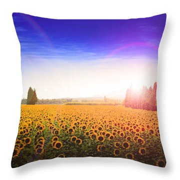 Sunflowers Await The Morning Sun Throw Pillow