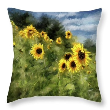 Sunflowers Bowing And Waving Throw Pillow