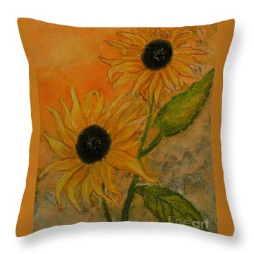 Sunflowers Throw Pillow by Carla Stein