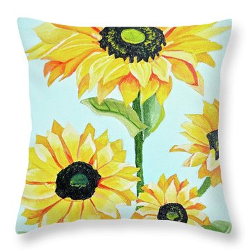 Sunflowers  Throw Pillow by Donna Blossom