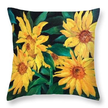 Sunflowers Throw Pillow by Ellen Canfield