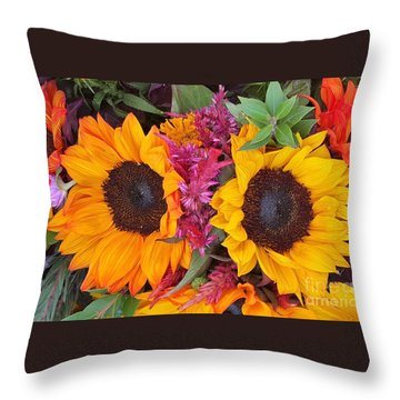 Sunflowers Eyes Throw Pillow by Jasna Gopic