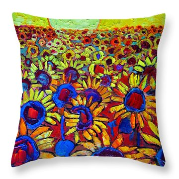 Sunflowers Field At Sunrise Throw Pillow