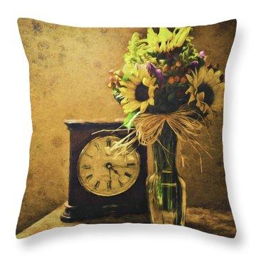 Sunflowers Floral Still Life 3 Throw Pillow