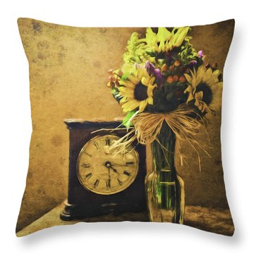 Sunflowers Floral Still Life 3 Throw Pillow