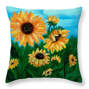 Throw Pillow featuring the painting Sunflowers For Mom by Sonya Nancy Capling-Bacle