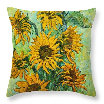 Sunflowers For This Summer Throw Pillow