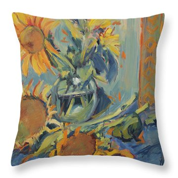 Sunflowers Fresh And Dried With Vase Throw Pillow