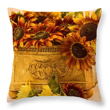 Sunflowers Galore Throw Pillow by Sandra Foster