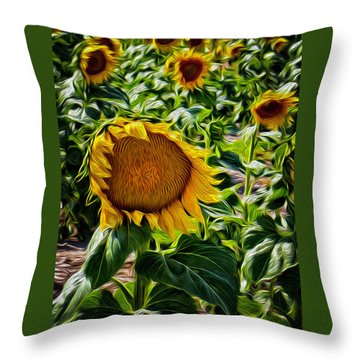Sunflowers Glaze Throw Pillow