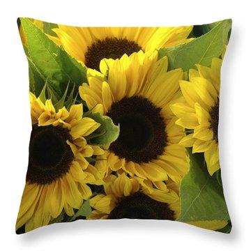 Sunflowers Throw Pillow by Henri Irizarri