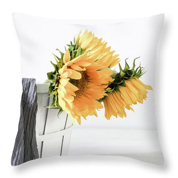 Throw Pillow featuring the photograph Sunflowers In A Basket by Kim Hojnacki