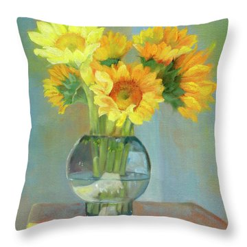 Throw Pillow featuring the painting Sunflowers In A Glass Vase Number One by Marlene Book