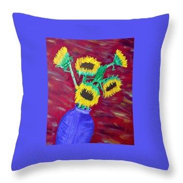 Throw Pillow featuring the painting Sunflowers In A Purple Vase by Brenda Pressnall