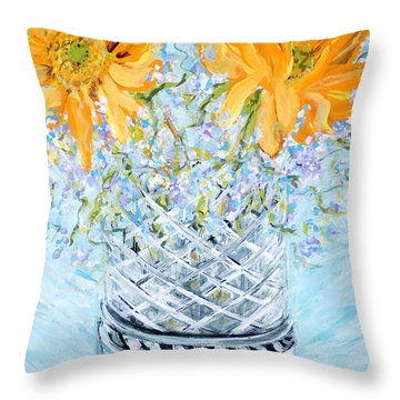 Sunflowers In A Vase. Painting Throw Pillow