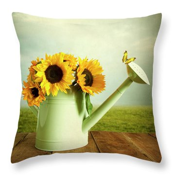 Sunflowers In A Watering Can Throw Pillow