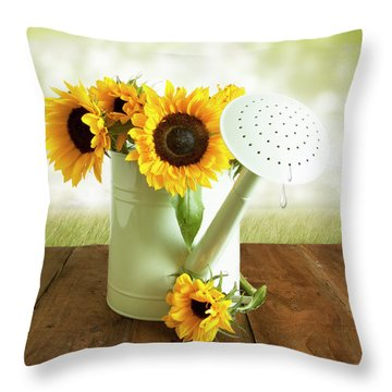 Sunflowers In An Old Watering Can Throw Pillow