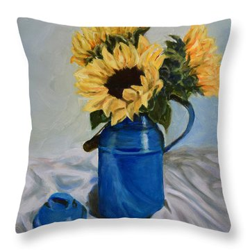 Sunflowers In Milkcan Throw Pillow