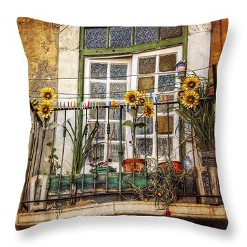 Sunflowers In The City Throw Pillow by Carol Japp