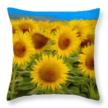 Sunflowers In The Field Throw Pillow
