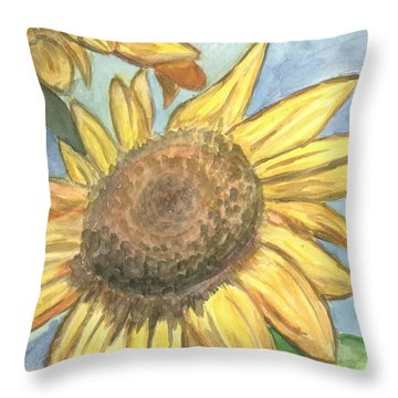 Sunflowers Throw Pillow by Jacqueline Athmann