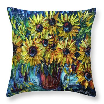 Sunflowers In A Vase Palette Knife Painting Throw Pillow