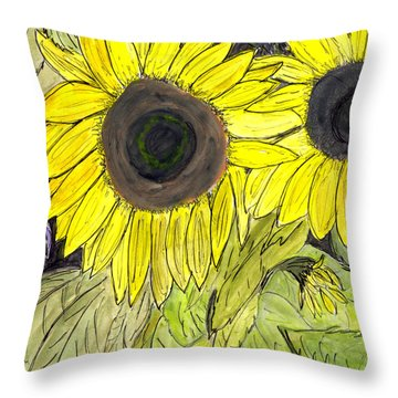 Throw Pillow featuring the painting Sunflowers by Lou Belcher